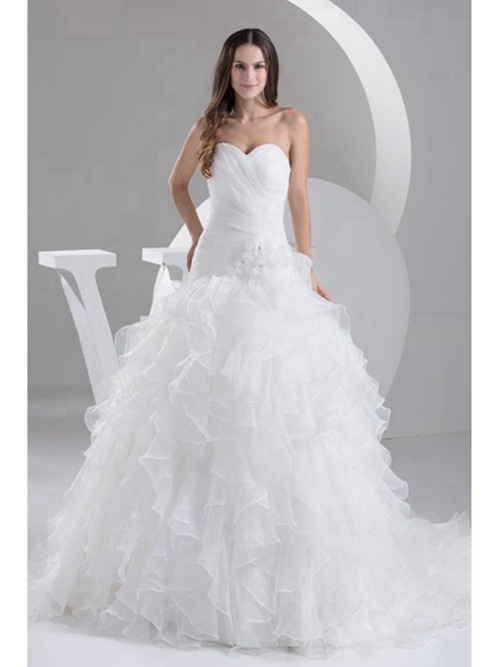 A-line Sweetheart Organza Wedding Wear Ruffles