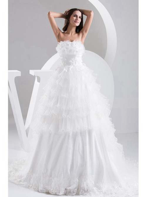 A-line Strapless Tulle Wedding Gown Ruffles