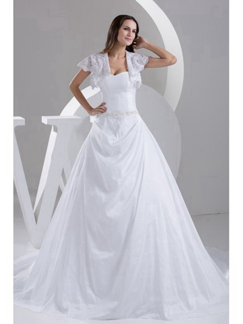 A-line Sweetheart Lace Satin Wedding Dress Beads