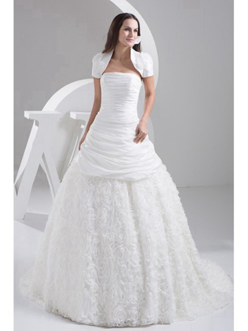 A-line Strapless Taffeta Bridal Wear Ruched Jacket