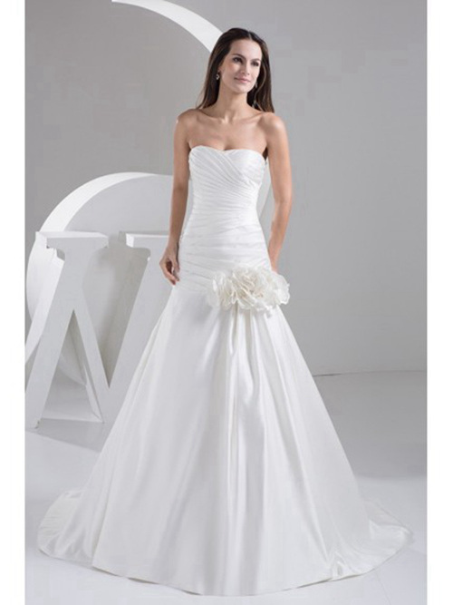 Mermaid Sweetheart Satin Wedding Gown Ruffles