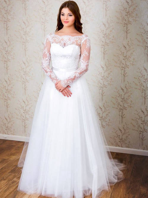 A-line Bateau Lace Sleeves Tulle Plus Size Bridal Dress