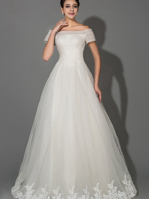 A-line Off Shoulder Tulle Sleeves Bridal Dress