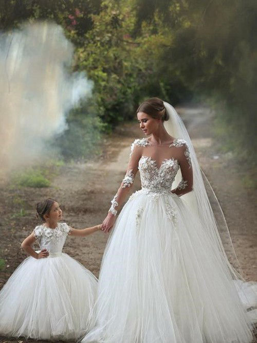 Ball Gown Sheer Tulle Sleeves Bridal Wear Applique