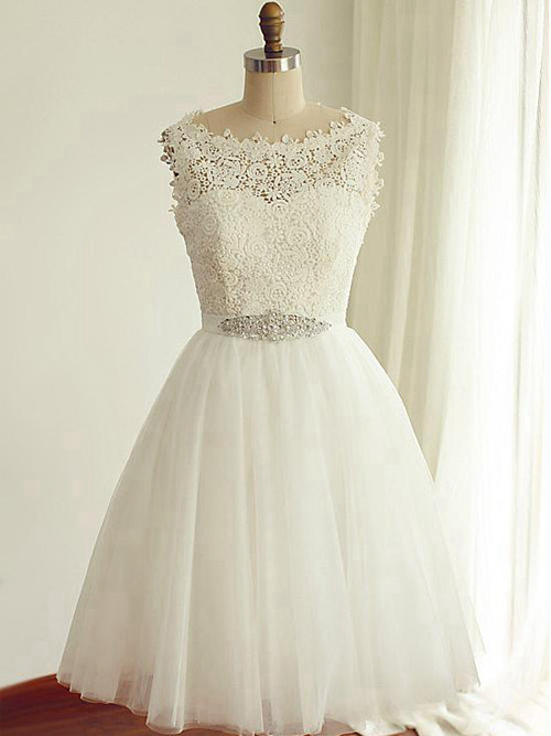 A-line Bateau Knee Length Lace Tulle Wedding Wear Beads