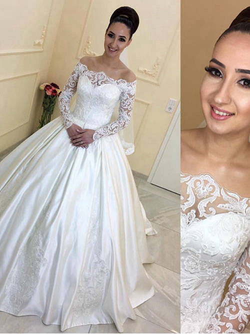 Ball Gown Off Shoulder Satin Lace Sleeves Wedding Wear