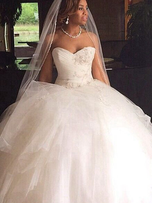 Ball Gown Sweetheart Tulle Wedding Garment Applique