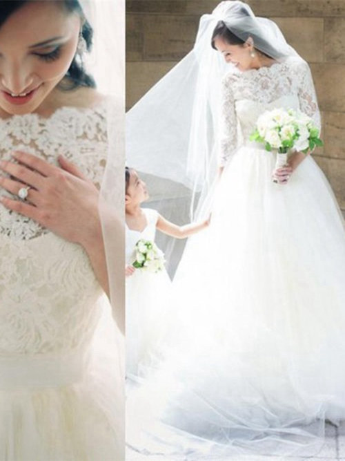 A-line Tulle Lace Sleeves Wedding Wear