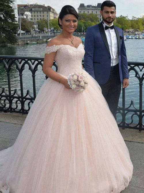 Ball Gown Off Shoulder Tulle Lace Bride Wear