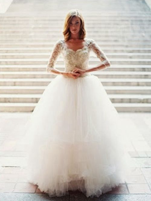 Ball Gown Sweetheart Tulle Sleeves Bride Wear Beads