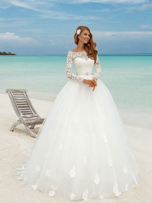 Ball Gown Bateau Lace Sleeves Tulle Wedding Wear Applique