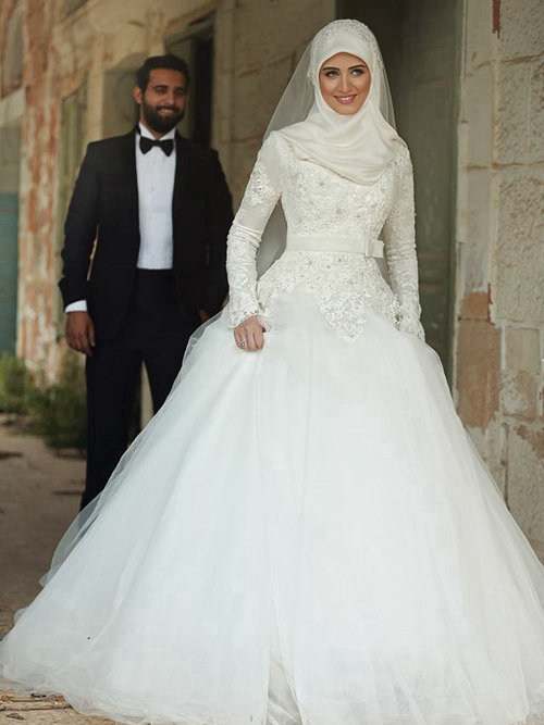 A-line High Neck Tulle Lace Sleeves Arabic Bridal Wear