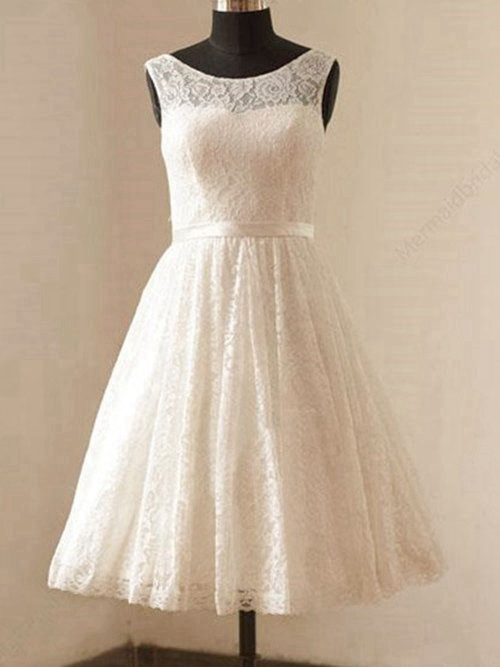 A-line Scoop Knee Length Lace Wedding Garment