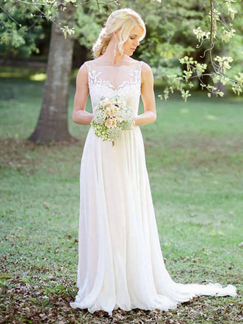 A-line Sheer Chiffon Lace Bridal Wear