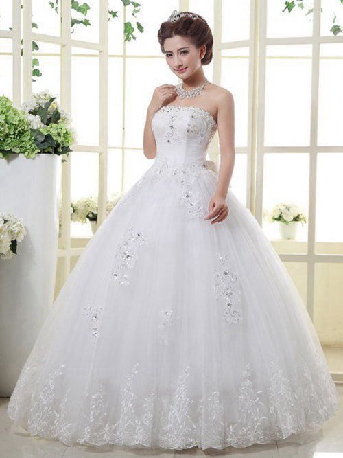 Ball Gown Strapless Tulle Bridal Wear Applique Beads