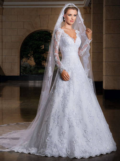 A-line V Neck Lace Sleeves Wedding Gown