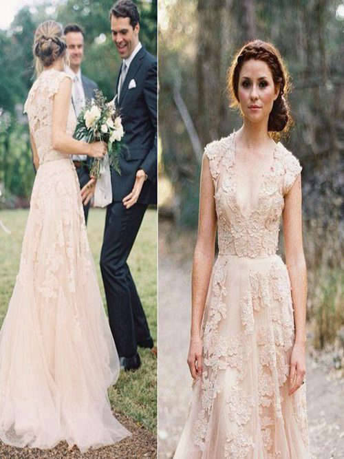 A-line V Neck Boho Tulle Lace Wedding Gown