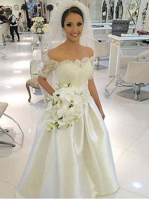 A-line Off Shoulder Lace Sleeves Satin Wedding Wear