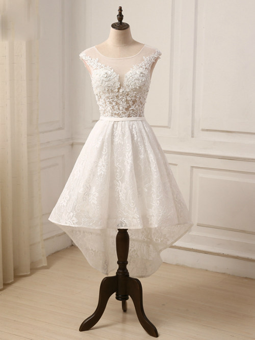 A-line Scoop High Low Lace Wedding Dress