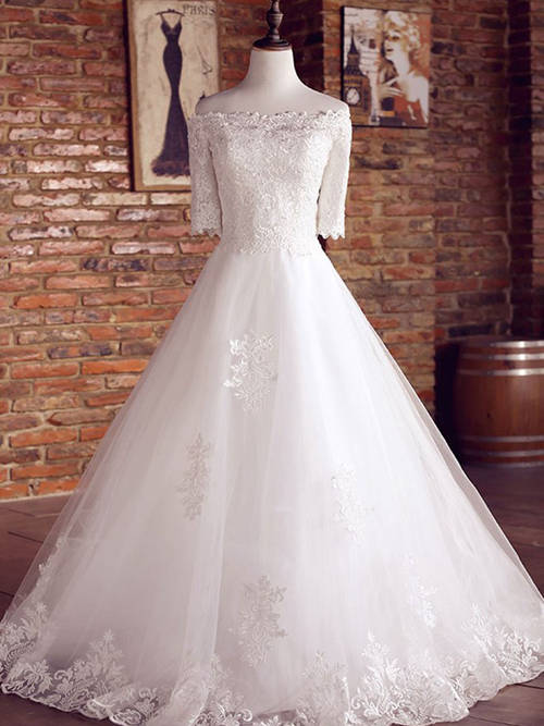 A-line Off Shoulder Tulle Lace Sleeves Bridal Dress