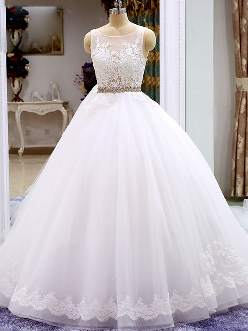 Ball Gown Scoop Organza Wedding Wear Beads Applique