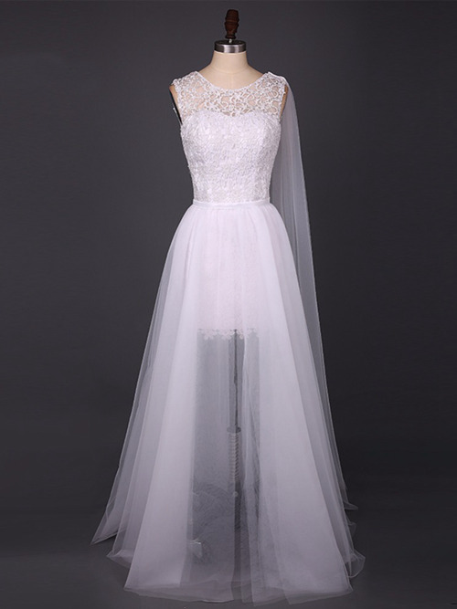 A-line Scoop Lace Tulle 2 in 1 Bridal Dress
