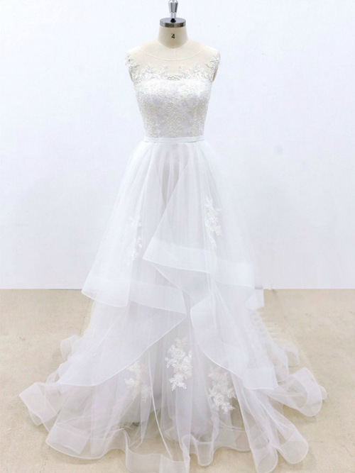 A-line Sheer Tulle Sleeves Wedding Dress Applique