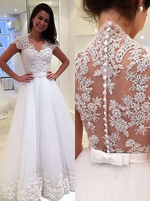 A-line Tulle Lace Brush Train Bridal Wear