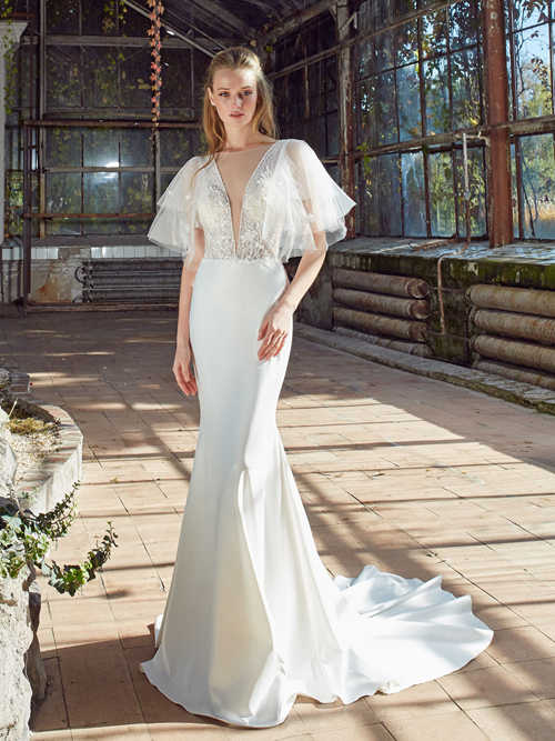 Mermaid V Neck Satin Lace Wedding Wear