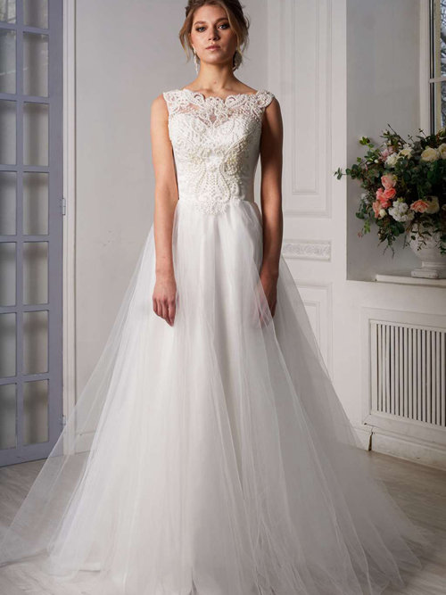 A-line Bateau Tulle Bridal Gown Patterns