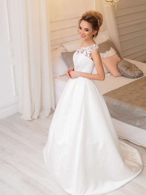 A-line One Shoulder Satin Lace Bridal Dress