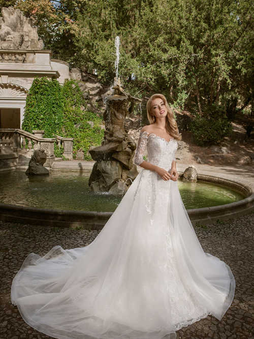 Mermaid Off Shoulder Lace Sleeves 2 in 1 Tulle Wedding Dress