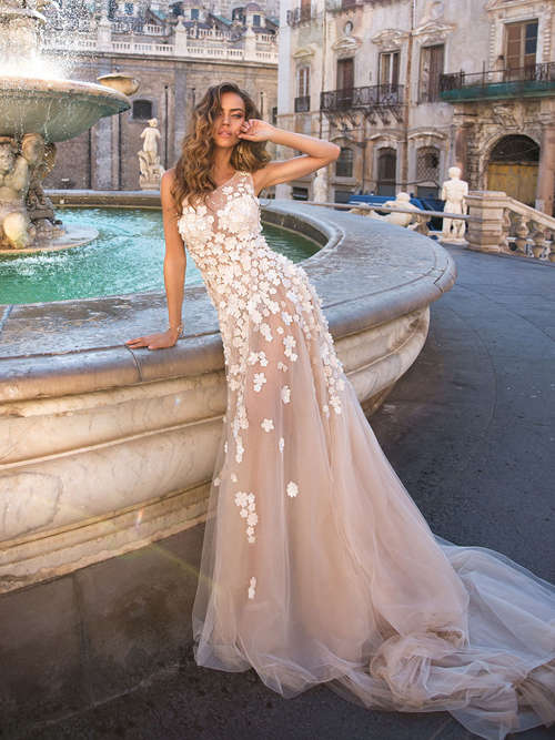 Mermaid Shoulder Tulle Wedding Dress Appliques