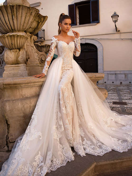 Mermaid Off Shoulder Lace Sleeves Tulle 2 in 1 Bride Dress