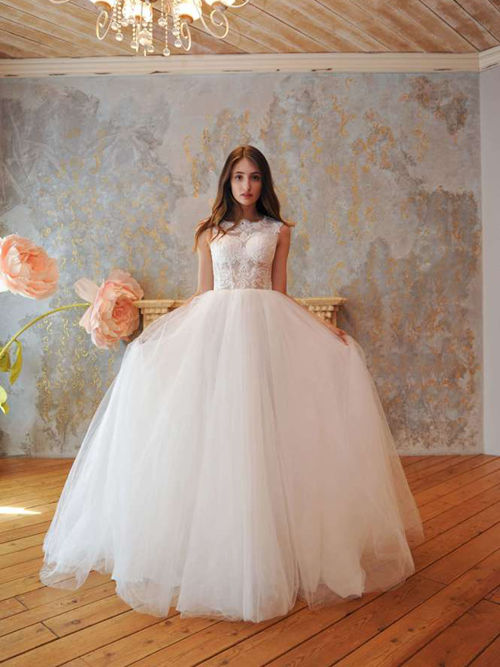 A-line Scoop Lace Tulle Bridal Dress
