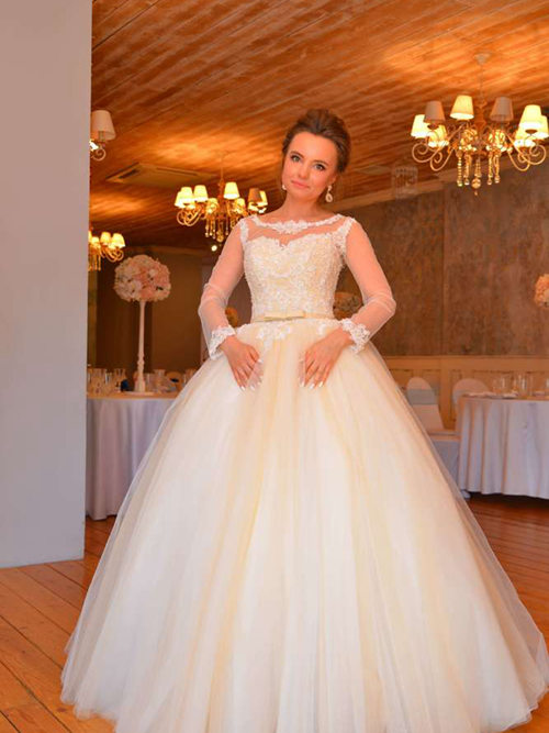 Ball Gown Lace Tulle Sleeves Wedding Wear