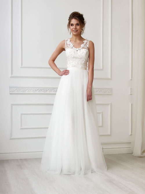 A-line Straps Tulle Bridal Dress Appliques
