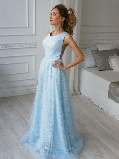 A-line Straps Satin Blue Bridal Gown Sequins