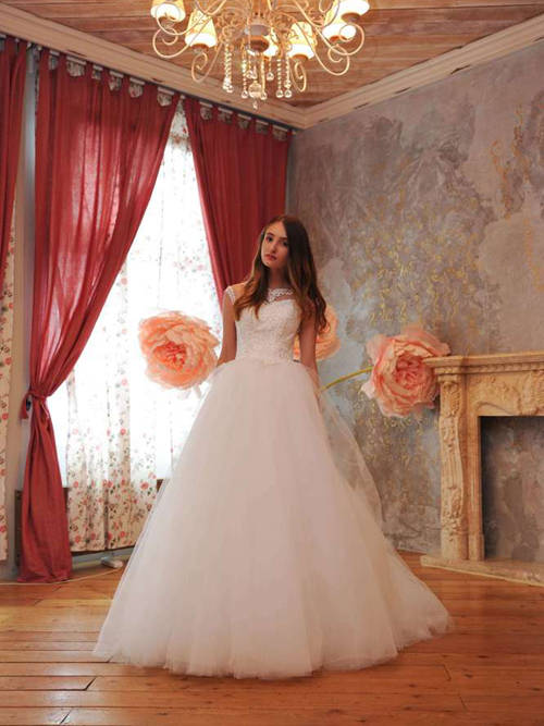 Ball Gown Sheer Lace Top Tulle Bridal Wear