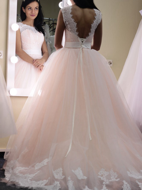 Pink Bridal Ball Gown Scoop Tulle Lace
