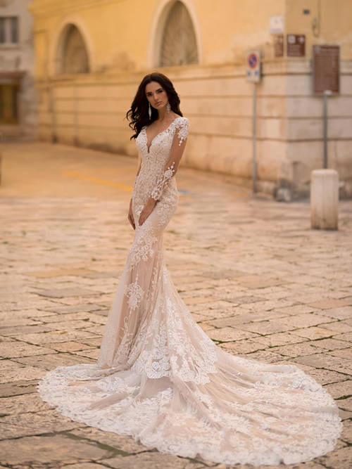 Mermaid V Neck Lace Sleeves Bridal Wear