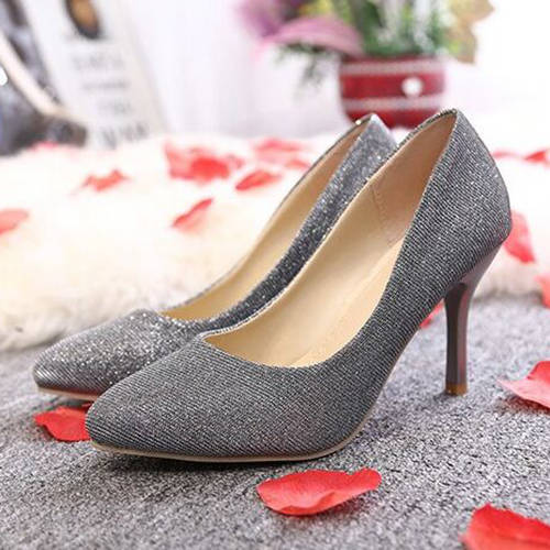 Silver Shining Wedding Party Shoes