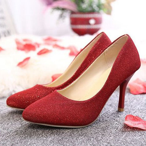 Red Shining Wedding Party Shoes