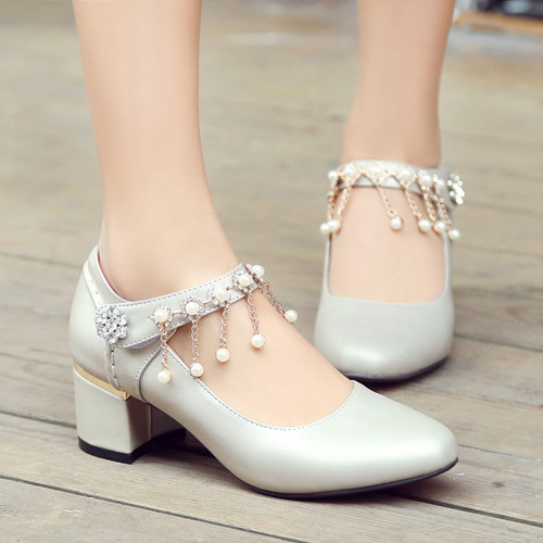 Silver Wedding Party Chunky Heels With Pearls