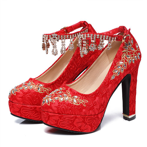 Red Wedding Shoes With Embrodiery