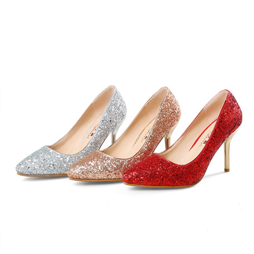 Silver/Gold/Red Wedding Evening Shoes