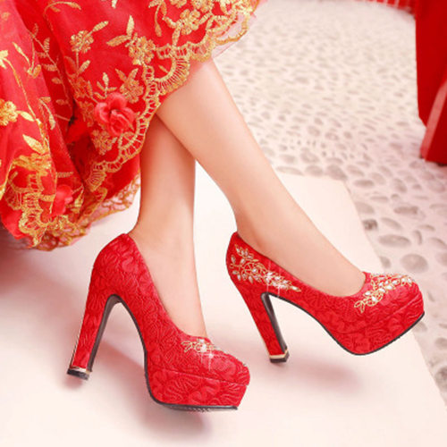 Red Wedding Party High Heels With Embrodiery