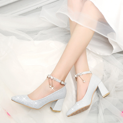 Silver Bridal Shoes With Pearls