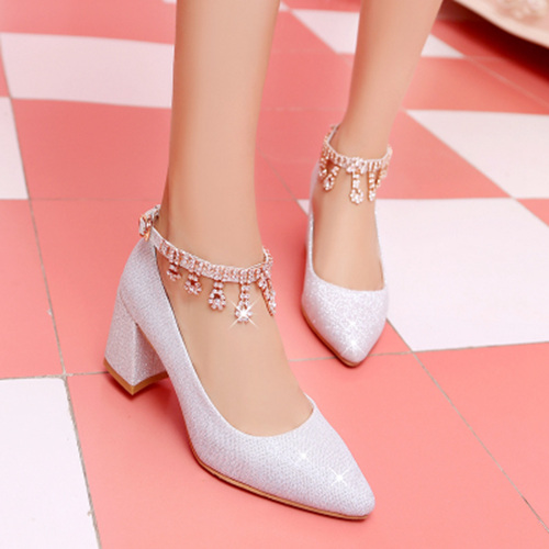 Silver Bridal Shoes With Beads