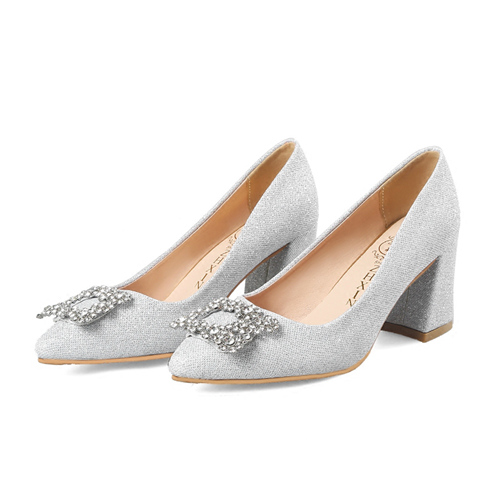Silver Bridal Shoes With Crystal